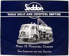 SEDDON Eagle Gully Cesspool Emptier Original Commercials Sales Brochure 1958