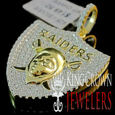 Mens Real Yellow Gold Sterling Silver Simu Diamond Oakland Raiders Pendant Charm