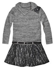 Girls Winter Dresses Kids Long Sleeved Knitted Tweed Dress Ages 3-12 Years