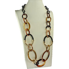 Brown tone shell, resin and gold colour metal oval link design long necklace