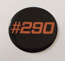 #290 Naranja En Negro STICKER/DECAL - 50mm de diámetro acabado de alto brillo abovedado Gel