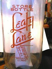 LEAFY LANE DAIRY PRODUCTS - PRINCETON ILLINOIS ~ Quart Glass Milk Bottle