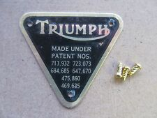 70-4016B GENUINE TRIUMPH T120 TR6 BRASS PATENT PLATE BADGE WITH RIVETS