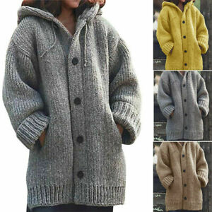 Womens Chunky Knitted Cardigan Ladies Casual Warm Sweater Coat Jackets Jumper UK