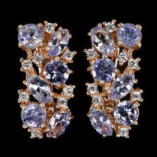 Unheated Oval Tanzanite 5x3mm Cz Rose Gold Plate 925 Sterling Silver Earrings