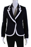 Drew Womens Accent Trim Button Front Donna Blazer Navy Blue Size XS