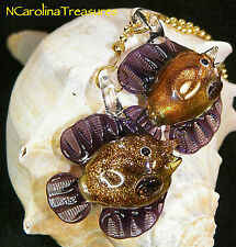 Art Glass Ceiling Fan Chain Light Switch Pull Purple Swirl Fish Large Pair