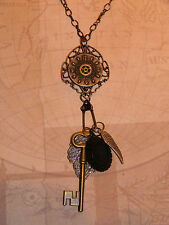 Victorian Steampunk Necklace Time Warped Watch Gear Key Wing Black Oval Pendant
