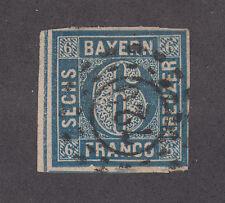 Bavaria Mi 10a used 1862 6kr greyish ultra Numeral, 720 in millwheel, scarce