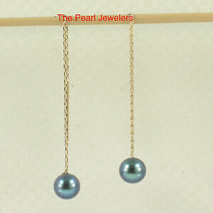 14k Solid Yellow Gold Threader Chain; AAA Black Cultured Pearl Drop Earrings TPJ