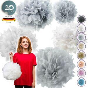 10 Seidenpapier Pompons Set | Deko für Hochzeit & Party | Pompom | Pompoms