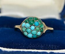 Victorian 9k GOLD & Persian Turquoise BOMBE Dome Cluster Antique RING - Sz L