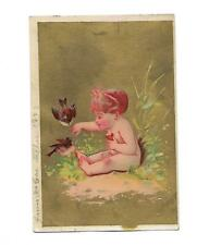 Naked Baby Sitting on Ground Feeding Birds No Advertising Vict Card c1880s