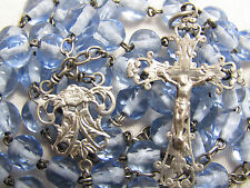 † SCARCE VERY RARE c1800s UPSIDE DOWN ANGEL ANTIQUE FRENCH LIGHT BLUE ROSARY †