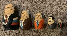 Russian Ussr Soviet Leaders 5 Pc Hand Painted Glazed Wood Nesting Doll Set