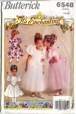 Butterick Sewing Patterns 6548 Flower Girl Dress Puffy Sleeves Child Size 5-6-6X