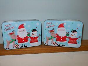 Merry Christmas Santa Reindeer Snowman Storage Tin Box x2  Stocking Filler Gift