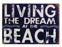 Living the Dream At the Beach Navy Blue Metal Wall Sign 14 Inches