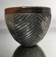 Nancee Meeker Pit Fired Studio Incised Pottery Bowl Small Hudson NY