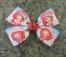 Set of 2 Strawberry shortcake toddler girl hair bows non slip clip