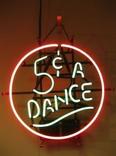 "17""x14""5 Cent A Dance Neon Sign Light Handmade Party Wall Poster Real Glass Tube"