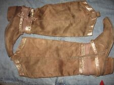 WOMENS 8 NOT RATED SOFT BROWN TALL KNEE HIGH COWBOY SWAG BOOTS FANCY HARNESS