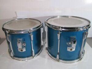 "2- Vintage Tama Rockstar Tom Drums Blue Sparkle Mounted 12"" x 11"" & 13"" x 12"""