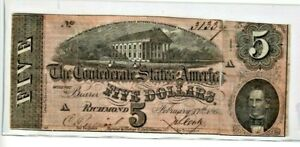 """$5 """"CONFEDERATE""""  (BLUEBACK) """"1800'S"""" $5 """"BLUEBACK""""(1800'S) $5  ROUGH NOTE!!!!"""