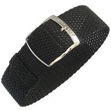 20mm EULIT Panama Black Tropic Woven Nylon Perlon German Made Watch Band Strap