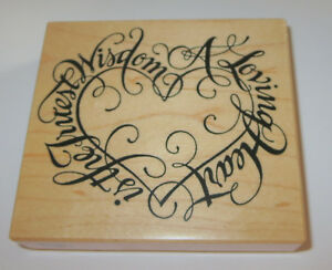 """A Loving Heart is The Truest Wisdom Rubber Stamp PSX 3.5"""" High 4"""" Long USA Made"""