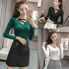 New Womens Knitted Tops Slim Long Sleeve Jumper Ribbed Shirt Sweater Blouse  Tops