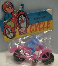 """Old Plastic 4"""" Toy Purple Motorcycle Blue Rider Original Store Pack 1970s Nice!"""