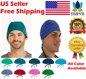 MAEVN Unisex Solid Scrub Cap Head Cover Hat Doctor Nurse Technicians