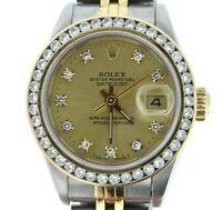 Rolex Datejust Lady 18K Yellow Gold & Steel Watch 1ct Bezel Factory Diamond Dial