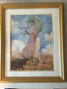 """Claude Monet 1840-1926 Woman With A Parasol Lithograph Framed & Matted  23""""x18"""""""
