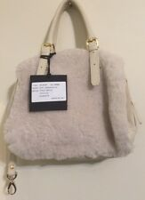 Lisa Conte' Italy Lambskin & Pebbled Leather with Shearling Fluffy Fur Pan a NWT