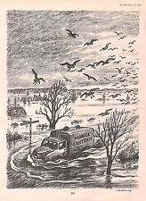 Mobile Canteen.Floods.1955.Cartoon.Caricature.Punch.Vintage,Disaster.Art