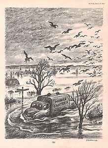 Mobile Canteen.Floods.1955.Cartoon.Caricature.Punch.Vintage.Disaster.Art