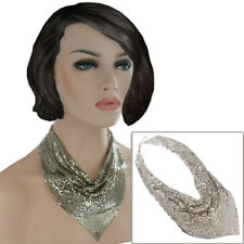 Statement Collar Choker Necklace Silver Tone Mesh Metal Scarf