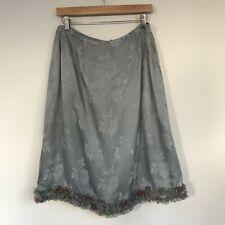 Sarah-Jane Womens Skirt, Size Large, Silk Summer Floral Lace Hem