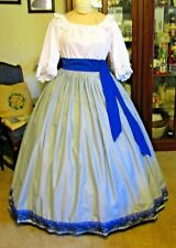Civil War Dress~Victorian Style Lovely Cotton Gray Skirt With Blue Lace & Sash