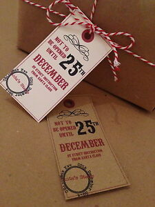 12 Vintage/Retro/Rustic Christmas Tags Label Parcel Present Gift Do Not Open