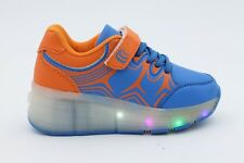 Kid's Blue Size 2 Roller Light Up Shoes Sneakers Lace-Up Hook-and-Loop