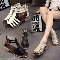 New Womens Fashion Gladiator Sandals Thong T Strap Flat Strappy Flip Flops Shoes