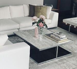 Stunning Genuine Calacatta Marble MINOTTI Huber coffee table Chrome-plated