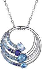 "ELLE 18"" + 2"" Sterling Necklace w/Synthetic Spinel, Synthetic Sapphire & Blue CZ"
