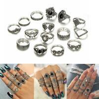15 teile/satz Finger Ring Vintage Hohl Lotus Punk Knuckle Ringe Schmuck C7K9