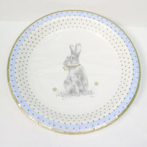 Spode Gold Trim Rabbit Print Coated Paper Lunch/Dessert Plates, 16 Count, NEW