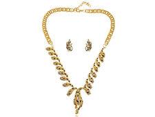 Golden Tribal Rhinestone Leopard Cheetah Cat Earrings Chain Necklace Set Jewelry
