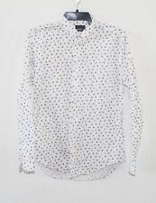 Mens Zara Man White pattern Slim Fit Long Sleeve Button Front Shirt - sz 42 or L